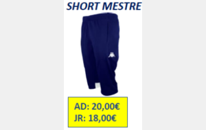 SHORT MESTRE ADULTE TAILLE 2XL