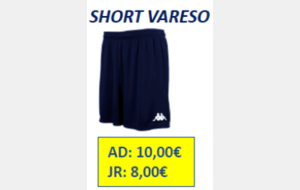 SHORT VARESO ADULTE TAILLE M